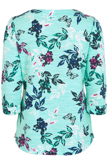 Boat Neck Floral Knitted Top