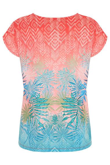Palm Mirror Print Woven Front T-Shirt