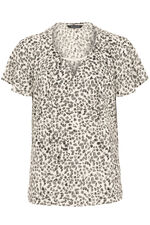 Spot Print Short Sleeve Blouse With Metal Trim