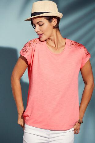 Raglan Lace Shoulder T-Shirt