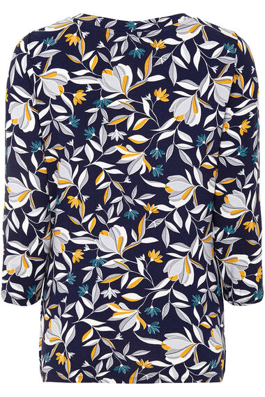 3/4 Sleeve Floral Print V-neck Top