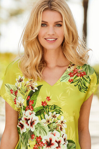 Floral Print Top With Jersey Back