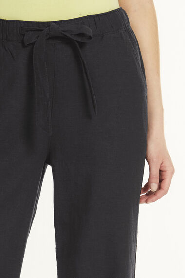 Linen Blend Wide Leg Trousers