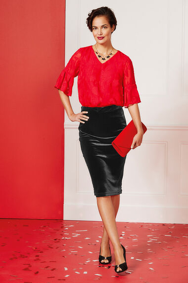 Textured Fluted Sleeve Top
