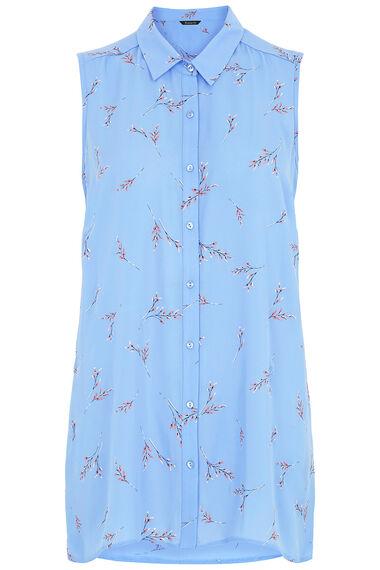 Floral Print Sleeveless Shirt