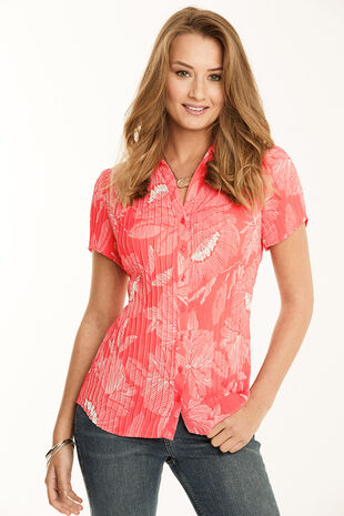 Poppy Print Pleated Short Sleeve Blouse