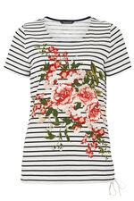 Floral Placement Stripe T-Shirt