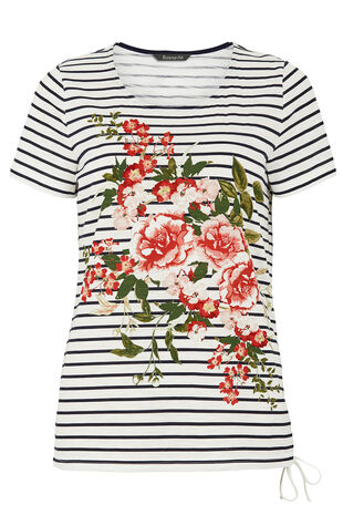 Floral Placement Stripe T-Shirt