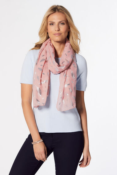 Totes Foil Feather Printed Scarf
