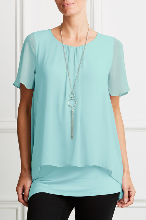 Double Layer Chiffon Top with Necklace