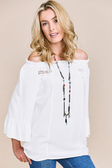 Off The Shoulder Blouse With Fluted Sleeve