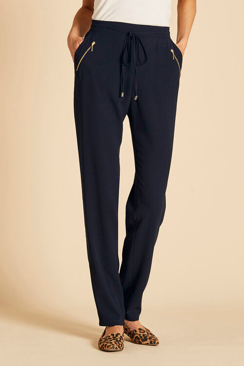 Soft Crepe Tie Front Relaxed Trouser