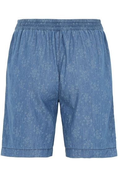 Scattered Leaf Chambray Shorts