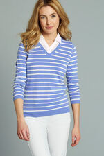 Stripe Mock Shirt Insert Jumper