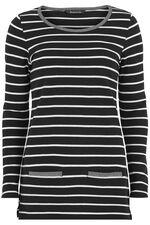 Contrast Trim Striped Tunic
