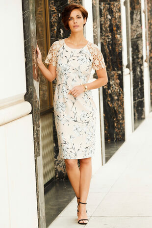 Lace Sleeve Printed Shift Dress
