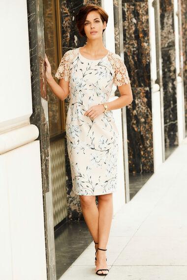 Lace Sleeve Printed Shift Dress