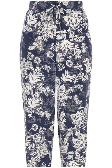 Floral Wide Leg Cropped Trousers