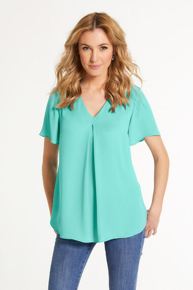 Plain Inverted Pleat Detail Blouse