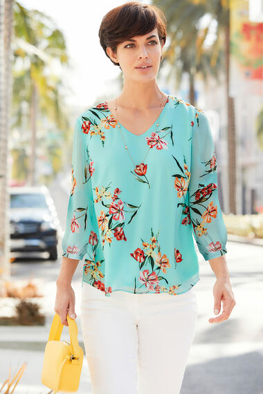 Floral Printed Blouse With Cuff Sleeve