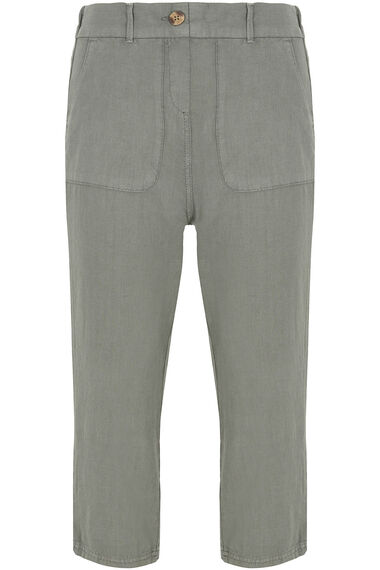 Linen Blend Cropped Trousers