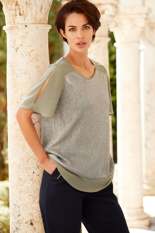 Metallic Plisse Top With Split Sleeve