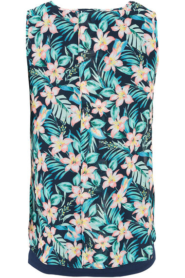 Tropical Printed Sleeveless Double Layer Top With Necklace