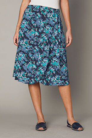 Printed Wrap A Line Skirt