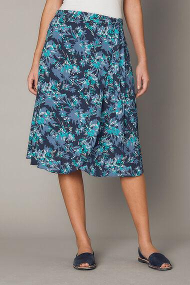 Printed Wrap A Line Skirt