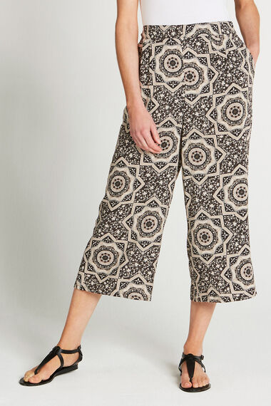 Tile Print Wide Leg Cropped Trousers