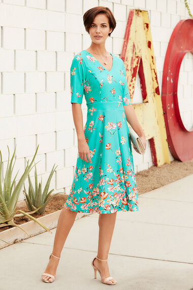Belted Border Print Fit and Flare Dress