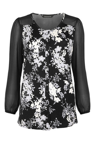 Jersey Floral Print Shirt With Chiffon Sleeves