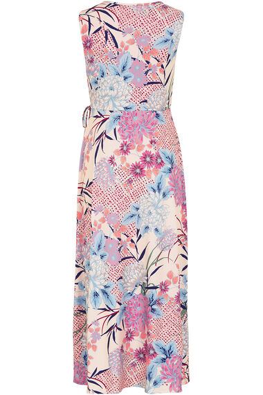 Oriental Print Wrap Front Maxi Dress