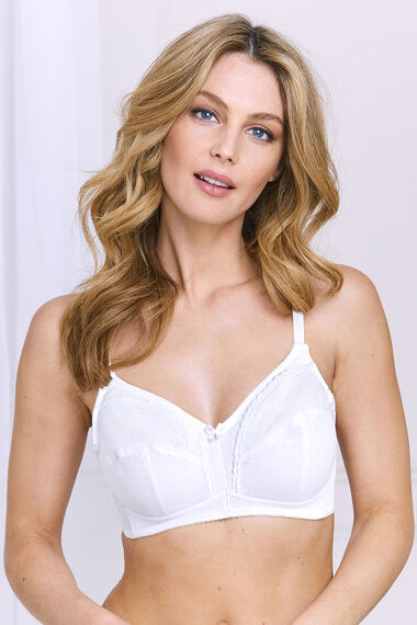 White Embroidery Control Non Wired Bra