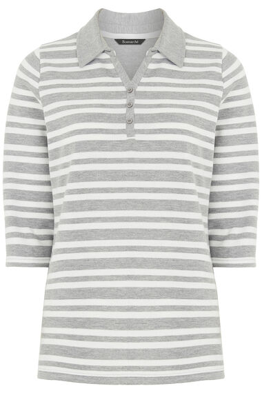 Textured Stripe Rugby T-Shirt