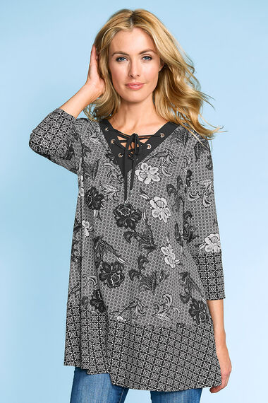 Floral and Boarder Printed Lace Up Neck Tunic