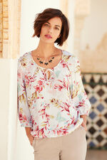 Watercolour Floral Gypsy Style Blouse With Notch Neck