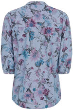 Floral Printed Chambray Button Through Blouse