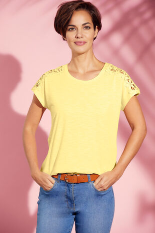 Raglan Lace Shoulder T-Shirt