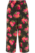 Spotty Floral Wide Leg Cropped Trousers