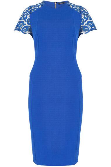 Short Sleeve Lace Shoulder Jersey Crepe Dress