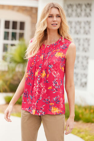 Hyacinth Print Top with Button and Pintuck Detail