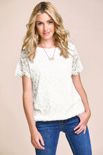 Boat Neck Lace Top with Jersey Back