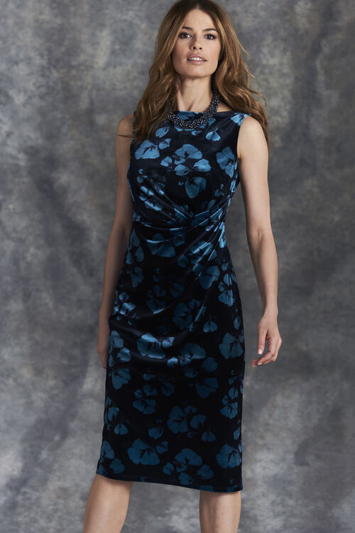 Floral Print Velour Shift Dress