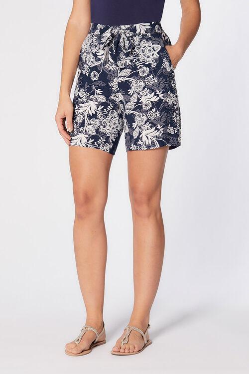 Floral Belted Viscose Shorts