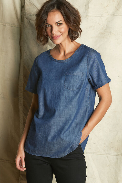 Cotton Chambray Shell Top