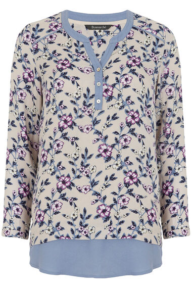 Contrast Trim Printed Blouse