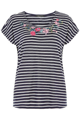 Stripe T-Shirt with Embroidered Neckline