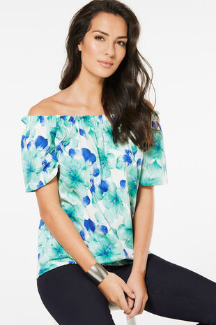 Large Floral Printed Gypsy Top