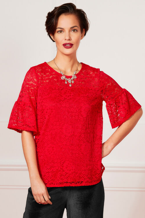 Fluted Sleeve Lace Top